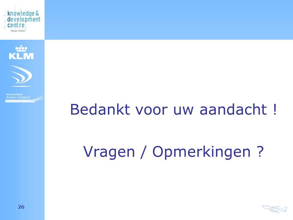 Amsterdam Airport Schiphol 26 Bedankt voor uw aandacht ! Vragen / Opmerkingen