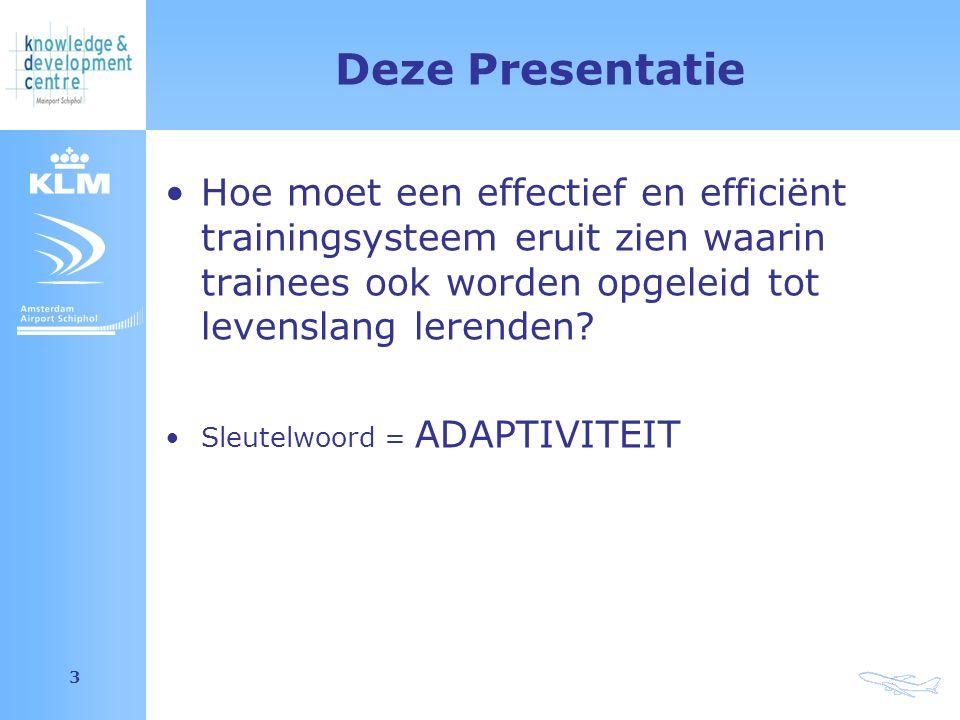 Amsterdam Airport Schiphol 3 Deze Presentatie Hoe moet een effectief en efficiënt trainingsysteem eruit zien waarin trainees ook worden opgeleid tot levenslang lerenden.