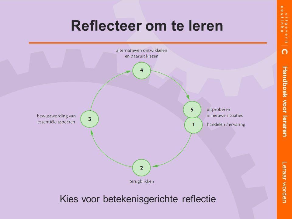 Kies voor betekenisgerichte reflectie Handboek voor leraren Leraar worden Reflecteer om te leren