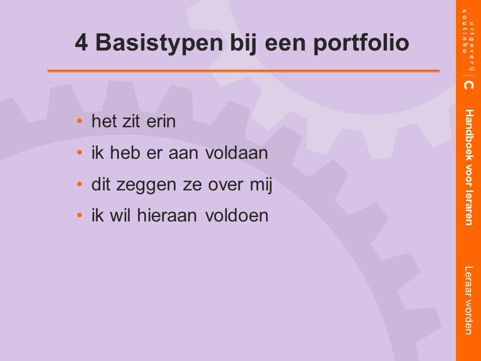 het zit erin ik heb er aan voldaan dit zeggen ze over mij ik wil hieraan voldoen Handboek voor leraren Leraar worden 4 Basistypen bij een portfolio