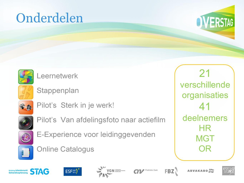 Onderdelen 21 verschillende organisaties 41 deelnemers HR MGT OR
