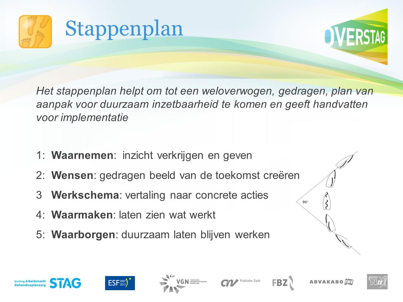 Stappenplan Het stappenplan helpt om tot een weloverwogen, gedragen, plan van aanpak voor duurzaam inzetbaarheid te komen en geeft handvatten voor imp