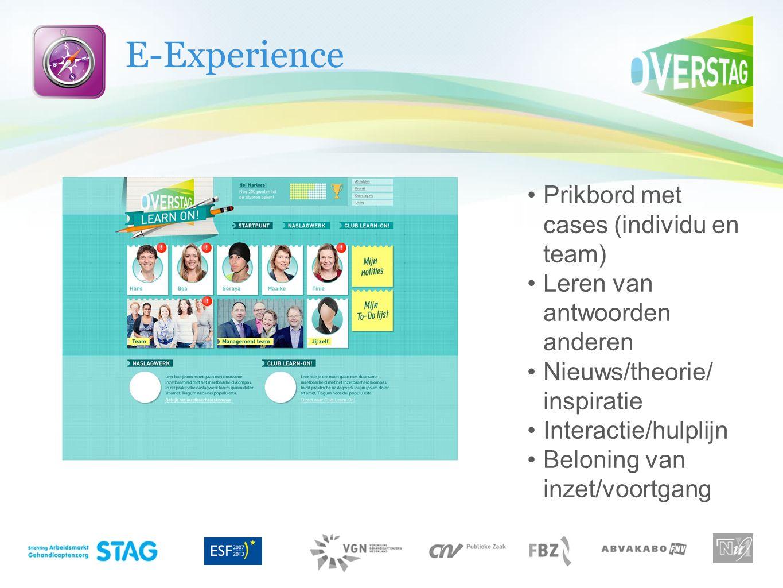 E-Experience Prikbord met cases (individu en team) Leren van antwoorden anderen Nieuws/theorie/ inspiratie Interactie/hulplijn Beloning van inzet/voor