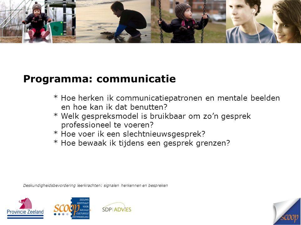 Programma: communicatie * Hoe herken ik communicatiepatronen en mentale beelden en hoe kan ik dat benutten? * Welk gespreksmodel is bruikbaar om zo'n