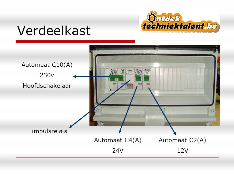 Algemene opmerkingen  Automaat van 10A is hoofdschakelaar = alle spanning af in de goot  Verdeelbord op slot  Automaten opzetten enkel door gewaarschuwde personen  Geen losse draden of kabels gebruiken in de stopcontacten