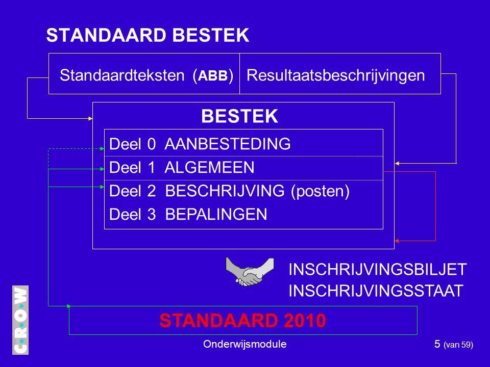 Onderwijsmodule5 (van 59) STANDAARD BESTEK Standaardteksten ( ABB ) Resultaatsbeschrijvingen BESTEK Deel 0 AANBESTEDING Deel 1 ALGEMEEN Deel 2 BESCHRIJVING (posten) Deel 3 BEPALINGEN STANDAARD 2010 INSCHRIJVINGSBILJET INSCHRIJVINGSSTAAT
