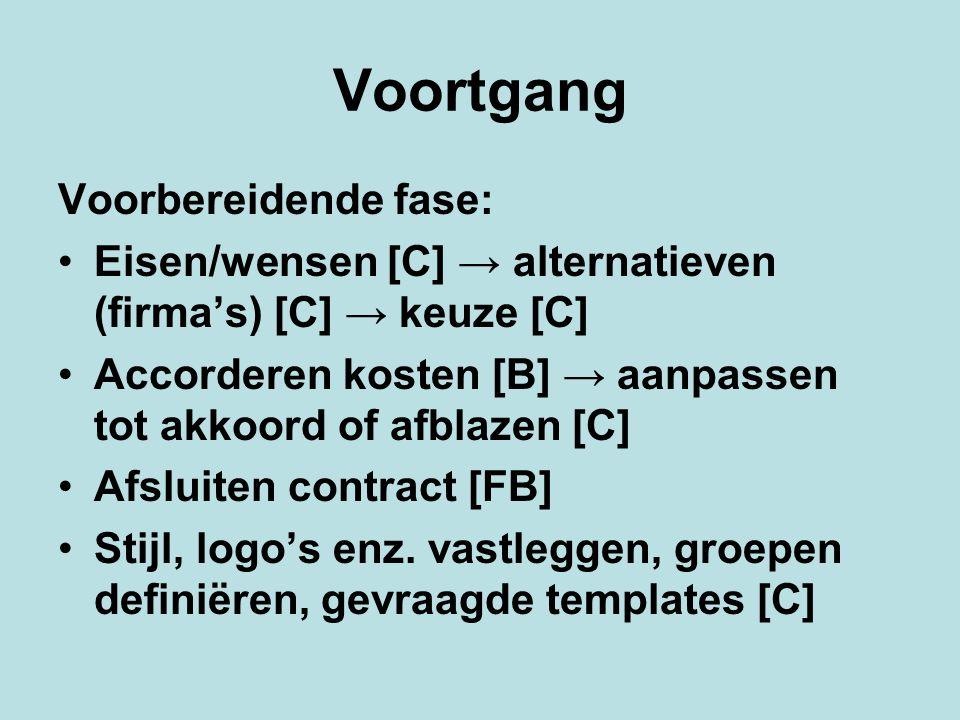 Voortgang Voorbereidende fase: Eisen/wensen [C] → alternatieven (firma's) [C] → keuze [C] Accorderen kosten [B] → aanpassen tot akkoord of afblazen [C] Afsluiten contract [FB] Stijl, logo's enz.