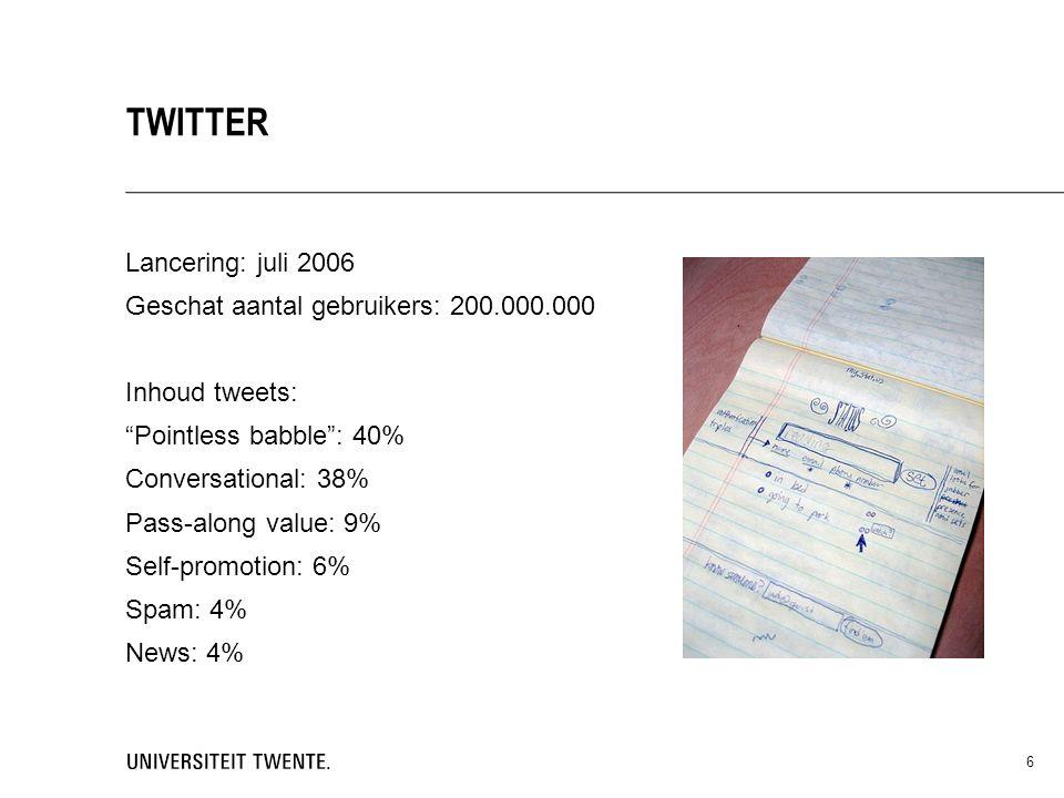 Twitteren: 1.Maak een account aan Profielnaam: onderwerp + organisatie (max.