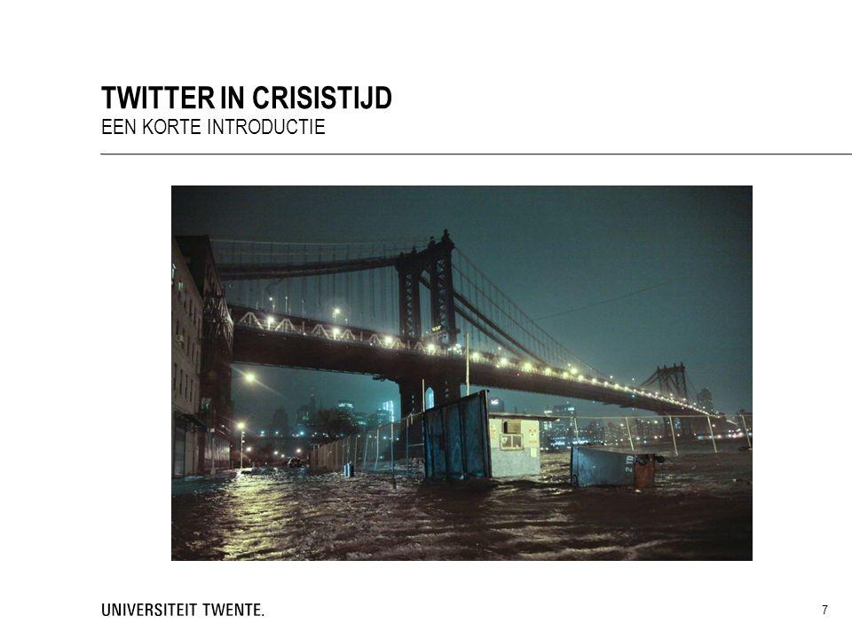  Actieve twitteraars praten meer over crisisnieuws dan niet-twitteraars of bloggers  Mensen praten eerder over een krantenbericht of blog dan over een tweet  Tweet + blogbericht = goed voor reputatie Schult & Goritz (2011) TWITTER: STRATEGISCH GEBRUIK HOE WAARDEREN MENSEN TWITTEREN IN CRISISTIJD.