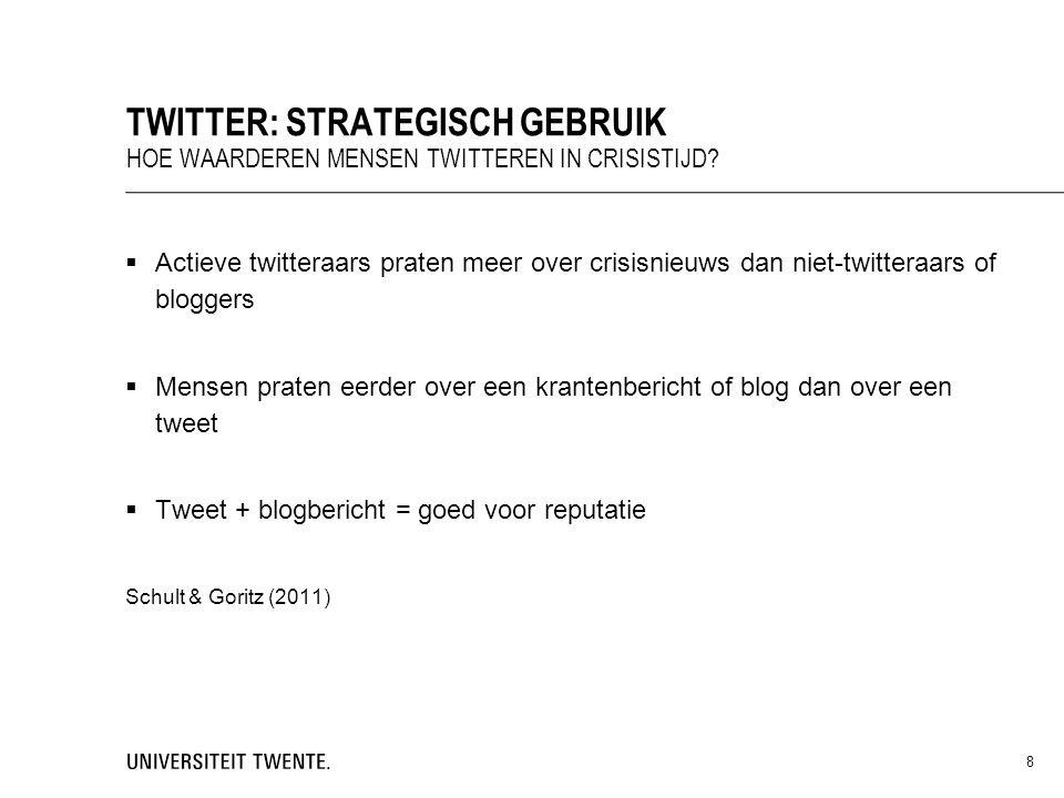  Actieve twitteraars praten meer over crisisnieuws dan niet-twitteraars of bloggers  Mensen praten eerder over een krantenbericht of blog dan over e