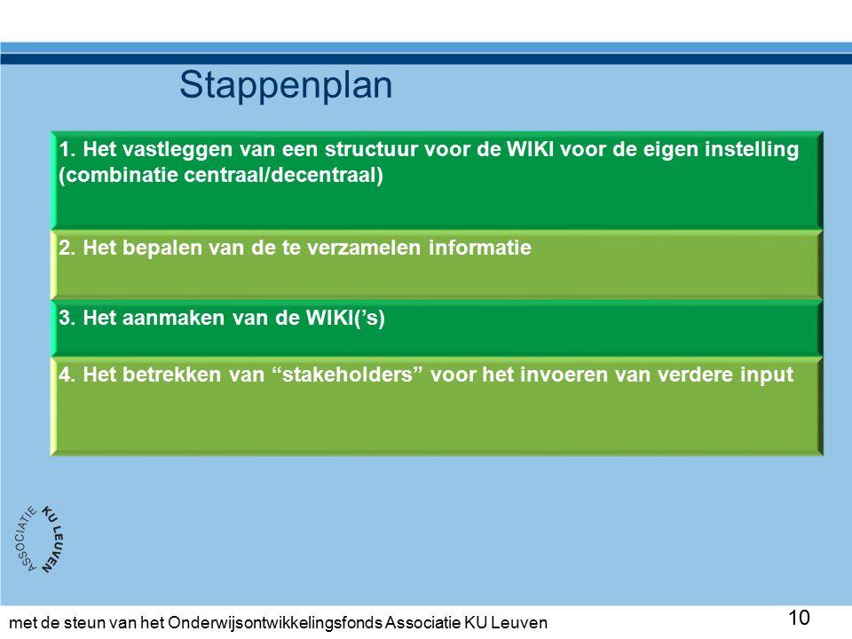 met de steun van het Onderwijsontwikkelingsfonds Associatie KU Leuven Stappenplan 10 1.