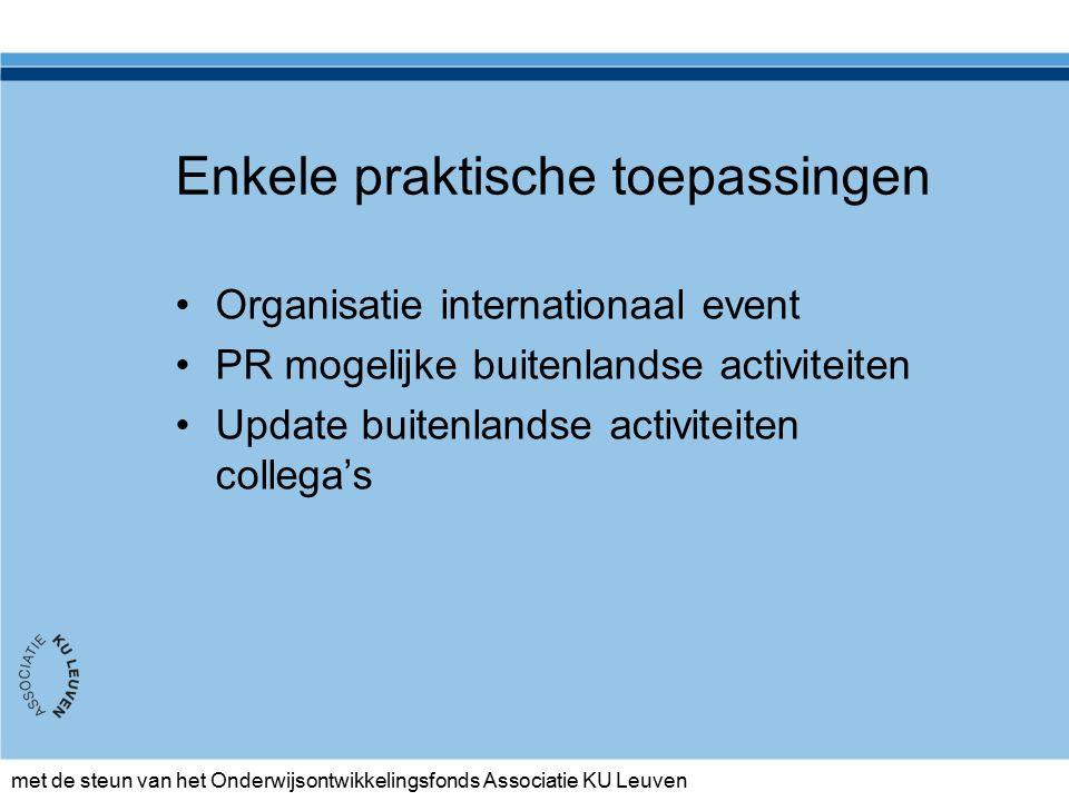 Enkele praktische toepassingen Organisatie internationaal event PR mogelijke buitenlandse activiteiten Update buitenlandse activiteiten collega's