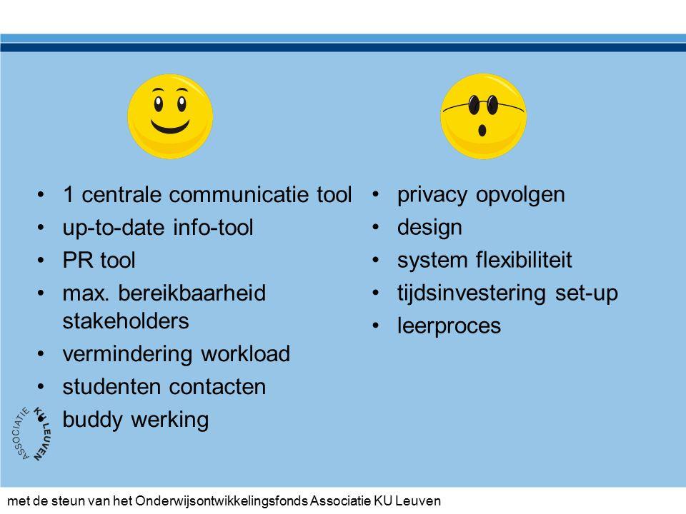 met de steun van het Onderwijsontwikkelingsfonds Associatie KU Leuven 1 centrale communicatie tool up-to-date info-tool PR tool max.