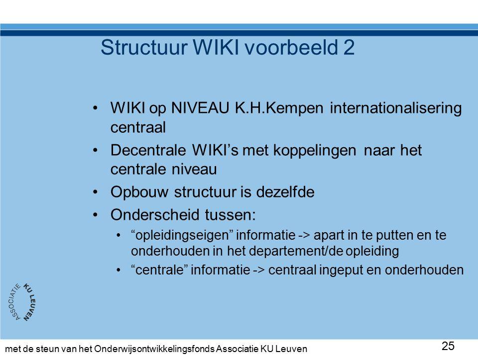 met de steun van het Onderwijsontwikkelingsfonds Associatie KU Leuven Structuur WIKI voorbeeld 2 WIKI op NIVEAU K.H.Kempen internationalisering centraal Decentrale WIKI's met koppelingen naar het centrale niveau Opbouw structuur is dezelfde Onderscheid tussen: opleidingseigen informatie -> apart in te putten en te onderhouden in het departement/de opleiding centrale informatie -> centraal ingeput en onderhouden 25