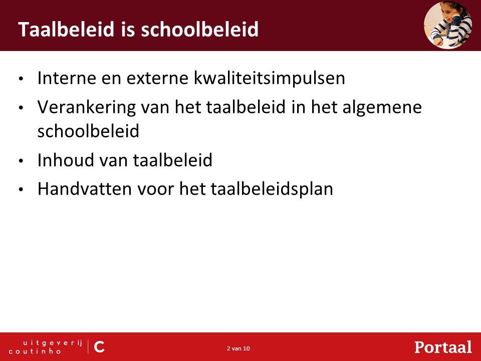 2 van 10 Taalbeleid is schoolbeleid Interne en externe kwaliteitsimpulsen Verankering van het taalbeleid in het algemene schoolbeleid Inhoud van taalbeleid Handvatten voor het taalbeleidsplan