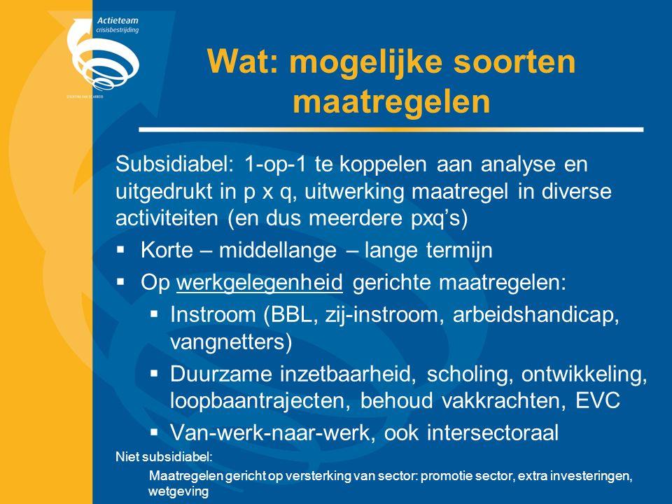 Wat: mogelijke soorten maatregelen Subsidiabel: 1-op-1 te koppelen aan analyse en uitgedrukt in p x q, uitwerking maatregel in diverse activiteiten (en dus meerdere pxq's)  Korte – middellange – lange termijn  Op werkgelegenheid gerichte maatregelen:  Instroom (BBL, zij-instroom, arbeidshandicap, vangnetters)  Duurzame inzetbaarheid, scholing, ontwikkeling, loopbaantrajecten, behoud vakkrachten, EVC  Van-werk-naar-werk, ook intersectoraal Niet subsidiabel: Maatregelen gericht op versterking van sector: promotie sector, extra investeringen, wetgeving