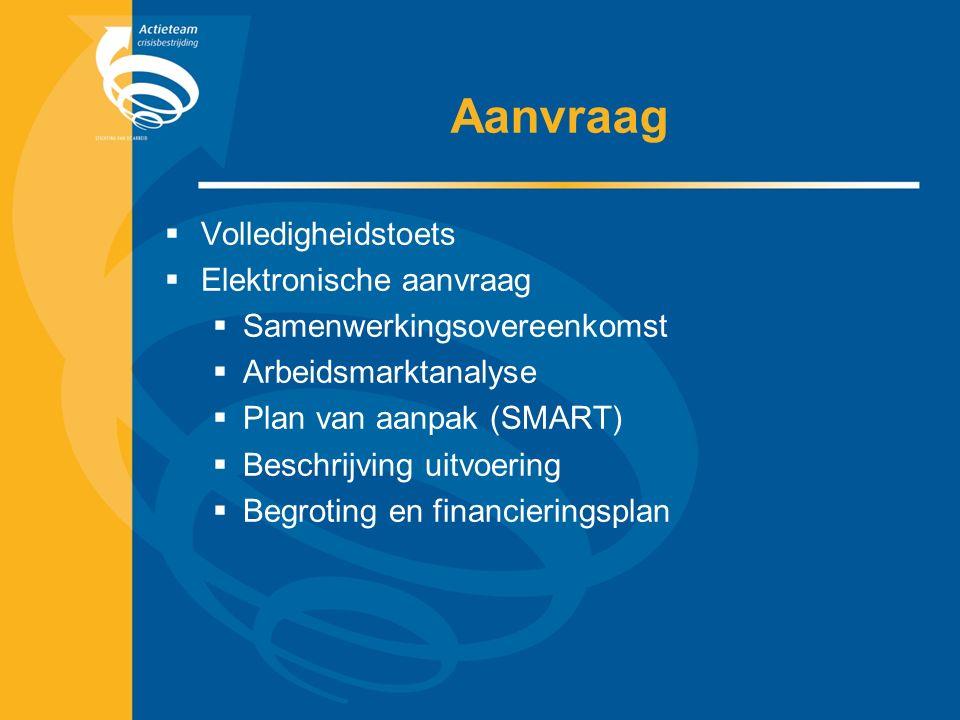 Aanvraag  Volledigheidstoets  Elektronische aanvraag  Samenwerkingsovereenkomst  Arbeidsmarktanalyse  Plan van aanpak (SMART)  Beschrijving uitv