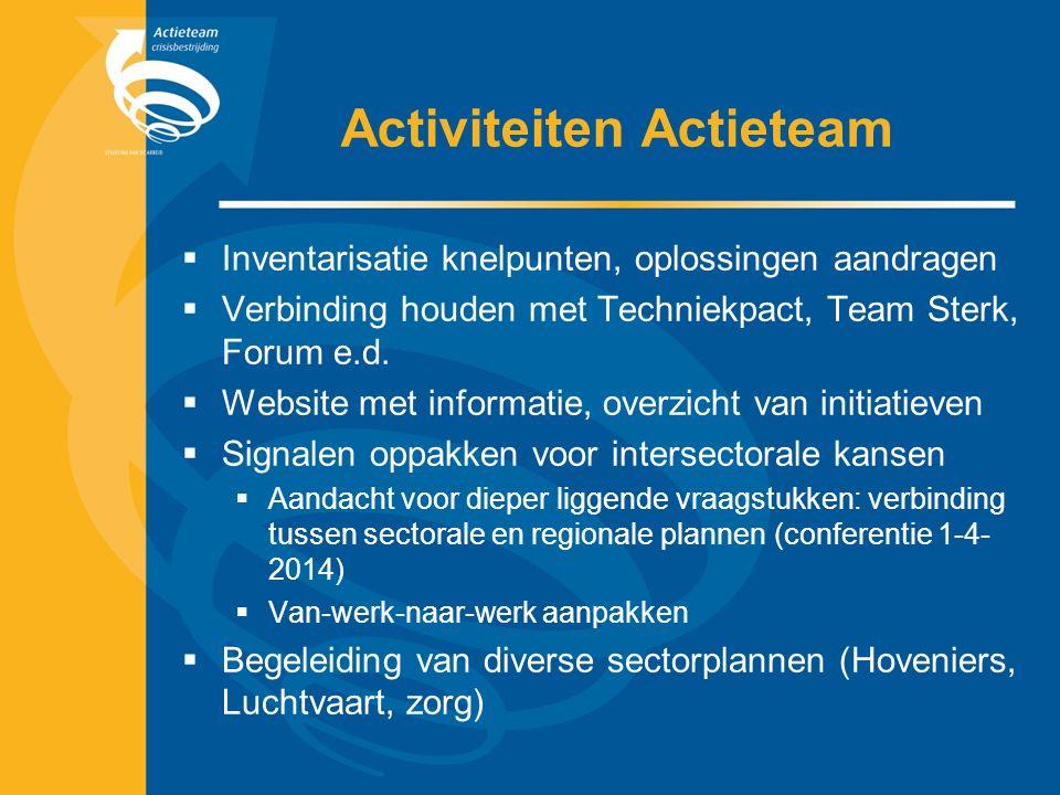 Activiteiten Actieteam  Inventarisatie knelpunten, oplossingen aandragen  Verbinding houden met Techniekpact, Team Sterk, Forum e.d.