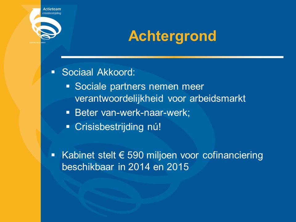 Achtergrond  Sociaal Akkoord:  Sociale partners nemen meer verantwoordelijkheid voor arbeidsmarkt  Beter van-werk-naar-werk;  Crisisbestrijding nú.