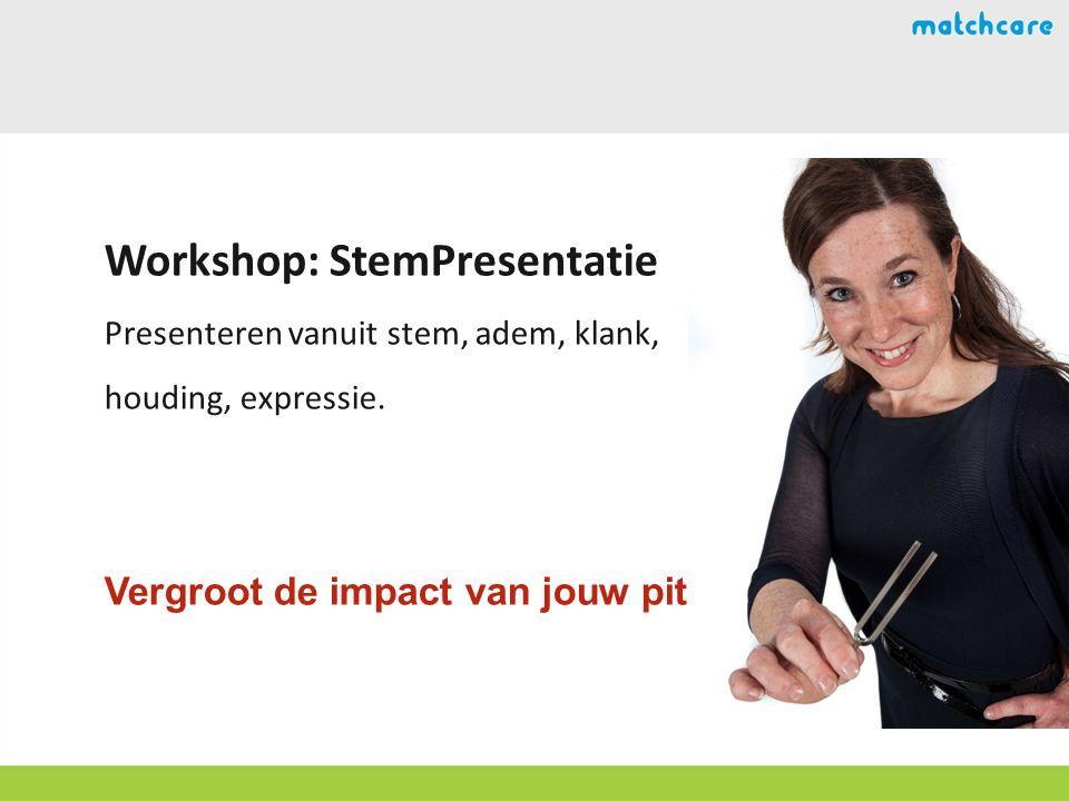 Workshop: StemPresentatie Presenteren vanuit stem, adem, klank, houding, expressie.