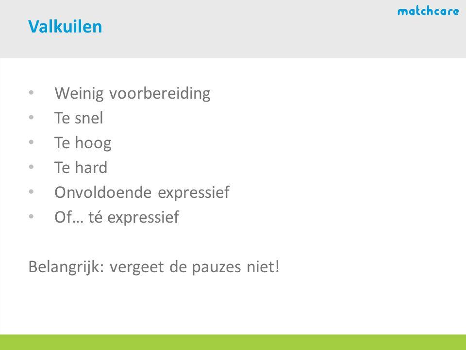 Valkuilen Weinig voorbereiding Te snel Te hoog Te hard Onvoldoende expressief Of… té expressief Belangrijk: vergeet de pauzes niet!