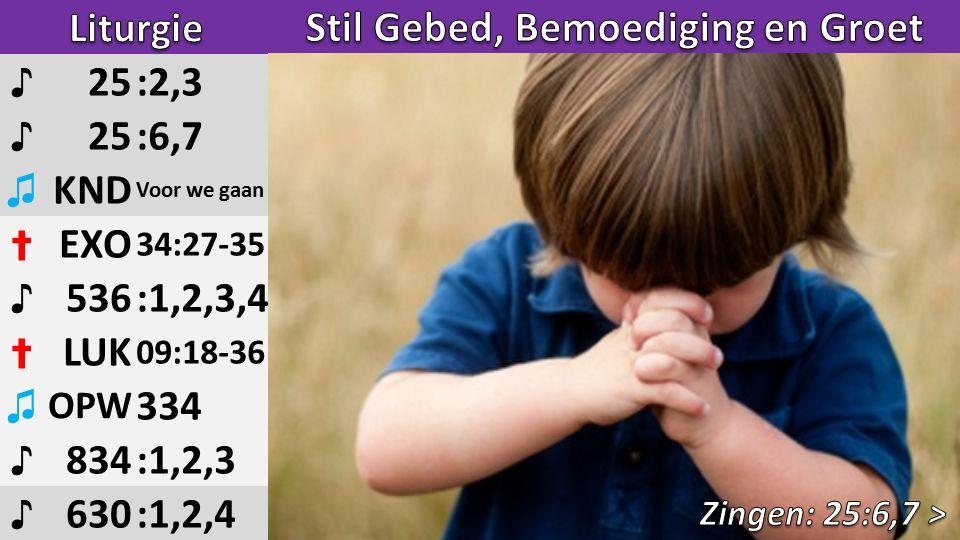 ♪ 25:2,3 ♪ 25:6,7 ♫ KND Voor we gaan ✝ EXO 34:27-35 ♪ 536:1,2,3,4 ✝ LUK 09:18-36 ♫ OPW 334 ♪ 834:1,2,3 ♪ 630:1,2,4 1/2