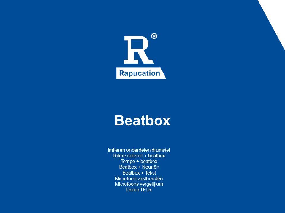 Beatbox Imiteren onderdelen drumstel Ritme noteren + beatbox Tempo + beatbox Beatbox + Neuriën Beatbox + Tekst Microfoon vasthouden Microfoons vergelijken Demo TEDx
