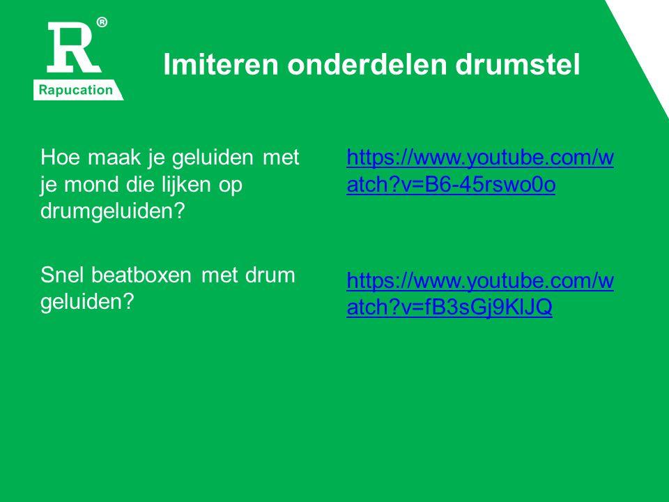 Imiteren onderdelen drumstel Hoe maak je geluiden met je mond die lijken op drumgeluiden.