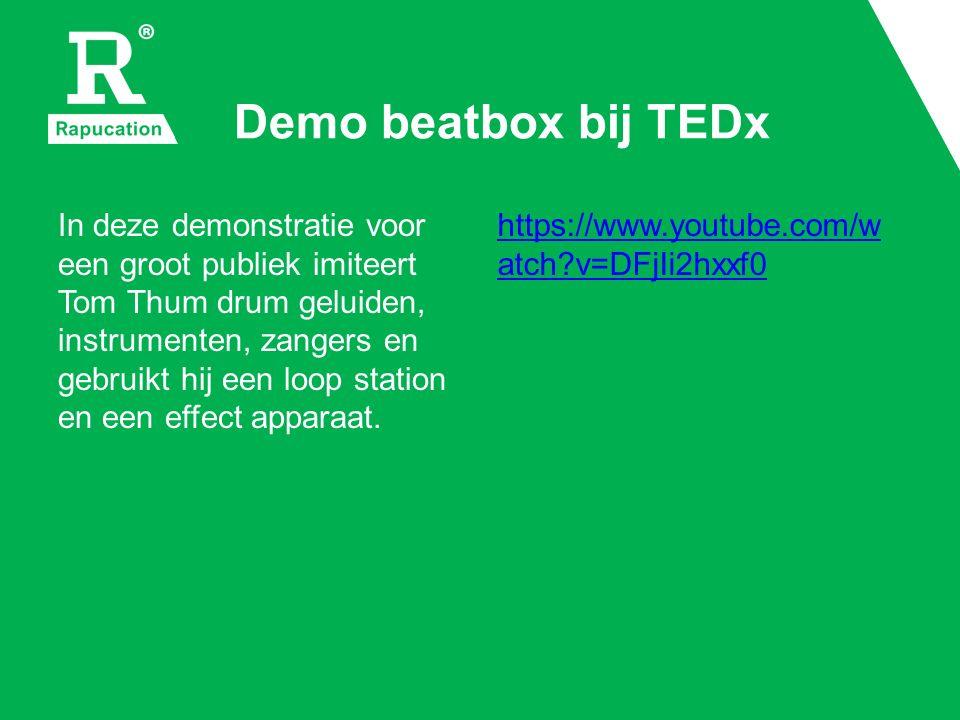 Demo beatbox bij TEDx In deze demonstratie voor een groot publiek imiteert Tom Thum drum geluiden, instrumenten, zangers en gebruikt hij een loop station en een effect apparaat.