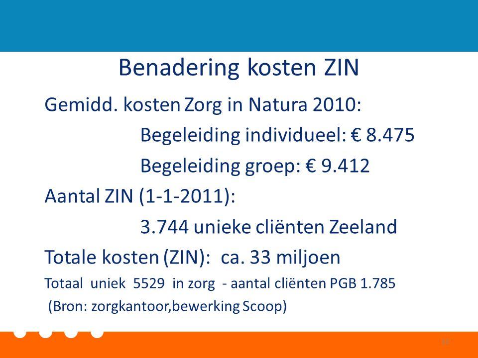 Benadering kosten ZIN Gemidd. kosten Zorg in Natura 2010: Begeleiding individueel: € 8.475 Begeleiding groep: € 9.412 Aantal ZIN (1-1-2011): 3.744 uni