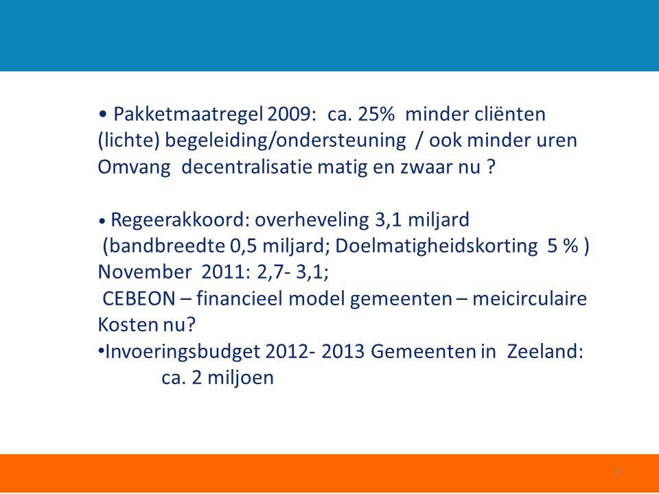Pakketmaatregel 2009: ca. 25% minder cliënten (lichte) begeleiding/ondersteuning / ook minder uren Omvang decentralisatie matig en zwaar nu ? Regeerak