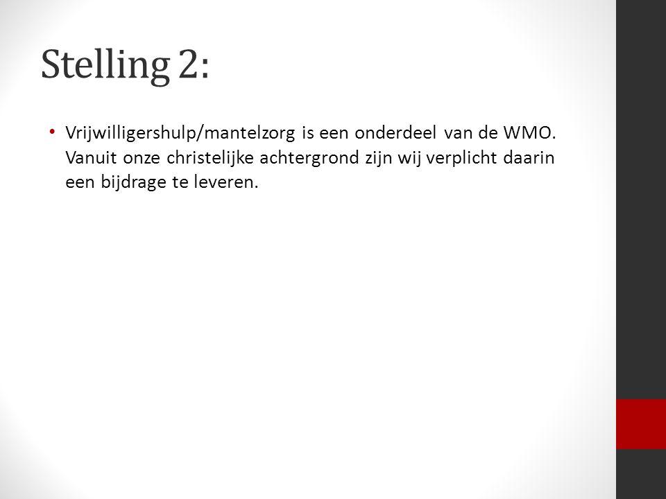 Stelling 2: Vrijwilligershulp/mantelzorg is een onderdeel van de WMO.