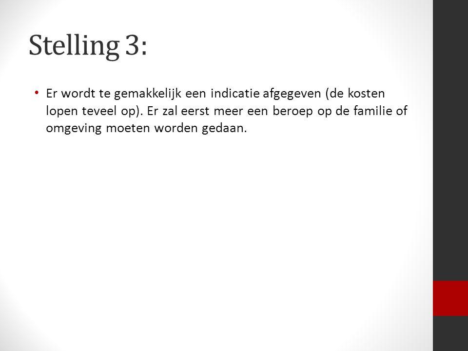 Stelling 3: Er wordt te gemakkelijk een indicatie afgegeven (de kosten lopen teveel op).