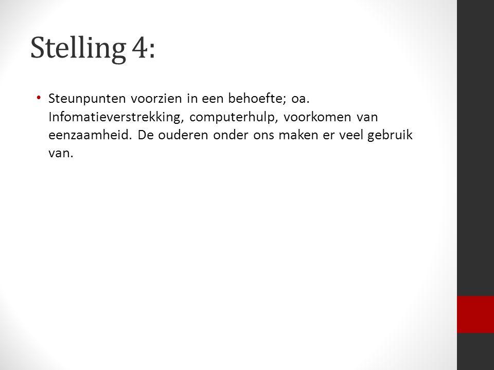Stelling 4: Steunpunten voorzien in een behoefte; oa.