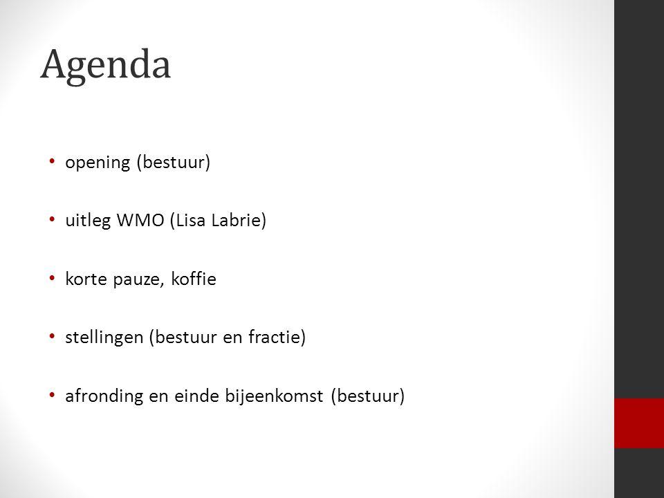 Agenda opening (bestuur) uitleg WMO (Lisa Labrie) korte pauze, koffie stellingen (bestuur en fractie) afronding en einde bijeenkomst (bestuur)