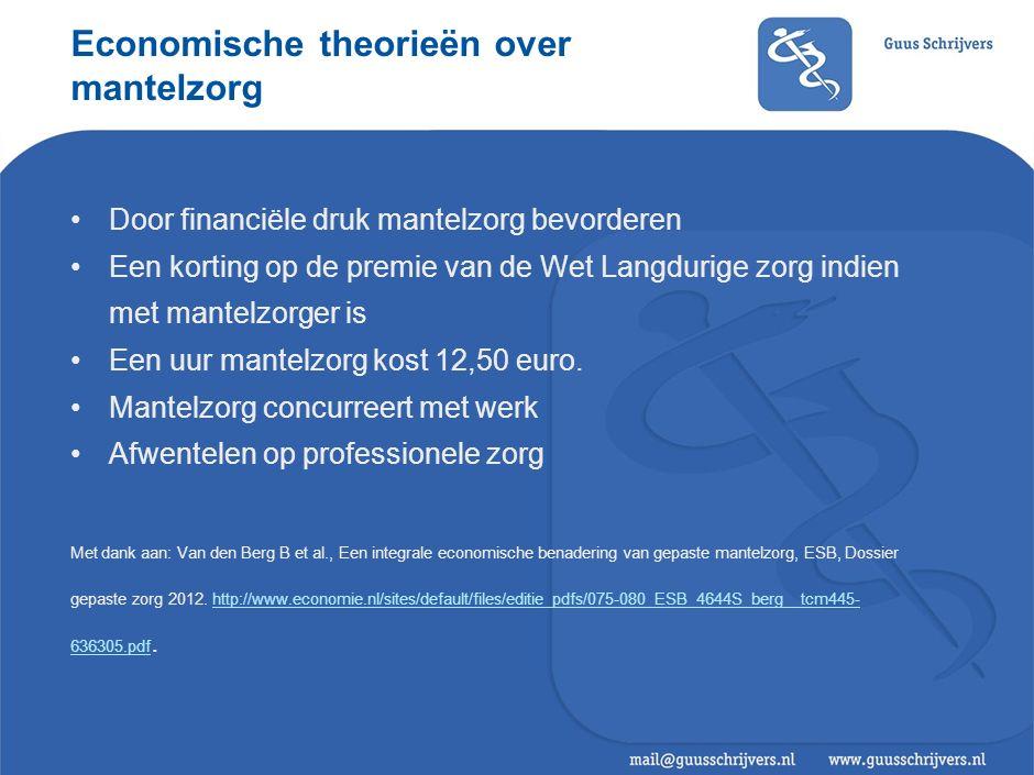 Economische theorieën over mantelzorg Door financiële druk mantelzorg bevorderen Een korting op de premie van de Wet Langdurige zorg indien met mantelzorger is Een uur mantelzorg kost 12,50 euro.