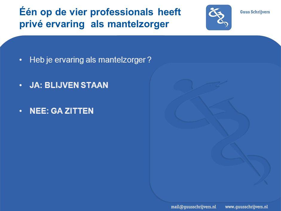 Één op de vier professionals heeft privé ervaring als mantelzorger Heb je ervaring als mantelzorger .
