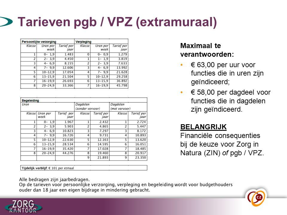 Tarieven pgb / VPZ (extramuraal) Maximaal te verantwoorden: € 63,00 per uur voor functies die in uren zijn geïndiceerd; € 58,00 per dagdeel voor funct