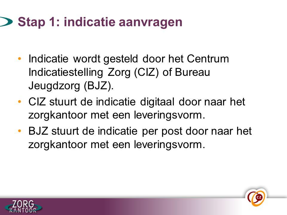 Stap 1: indicatie aanvragen Indicatie wordt gesteld door het Centrum Indicatiestelling Zorg (CIZ) of Bureau Jeugdzorg (BJZ). CIZ stuurt de indicatie d