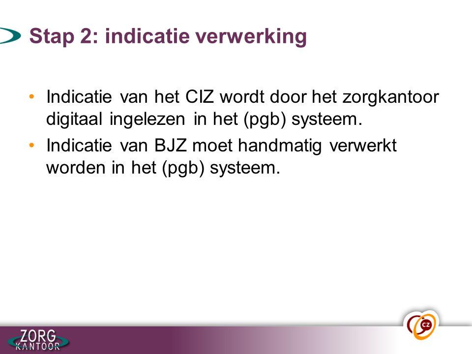 Stap 2: indicatie verwerking Indicatie van het CIZ wordt door het zorgkantoor digitaal ingelezen in het (pgb) systeem. Indicatie van BJZ moet handmati