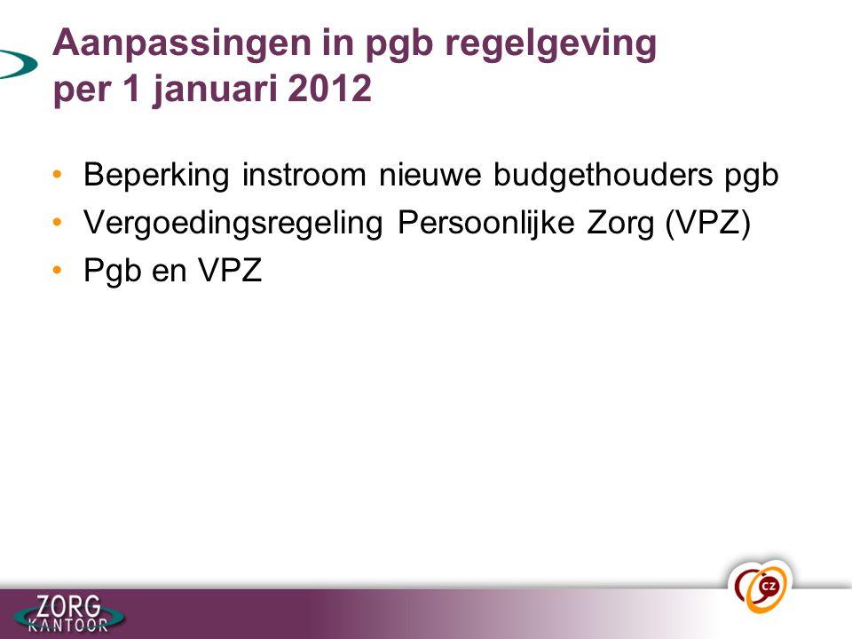 Beperking instroom nieuwe budgethouders pgb.