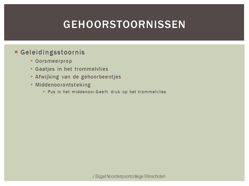  Geleidingsstoornis  Oorsmeerprop  Gaatjes in het trommelvlies  Afwijking van de gehoorbeentjes  Middenoorontsteking  Pus in het middenoor.Geeft