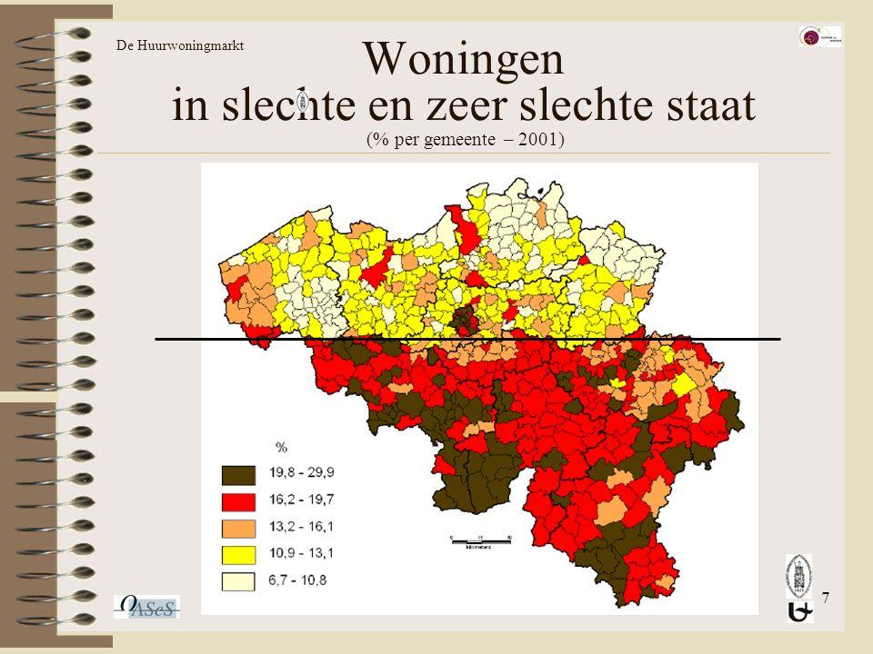 7 Woningen in slechte en zeer slechte staat (% per gemeente – 2001) De Huurwoningmarkt