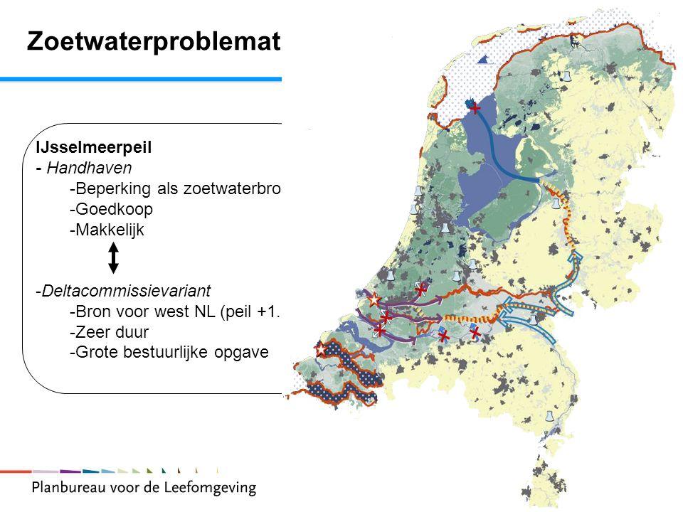 23 IJsselmeerpeil - Handhaven -Beperking als zoetwaterbron -Goedkoop -Makkelijk -Deltacommissievariant -Bron voor west NL (peil +1.30) -Zeer duur -Gro