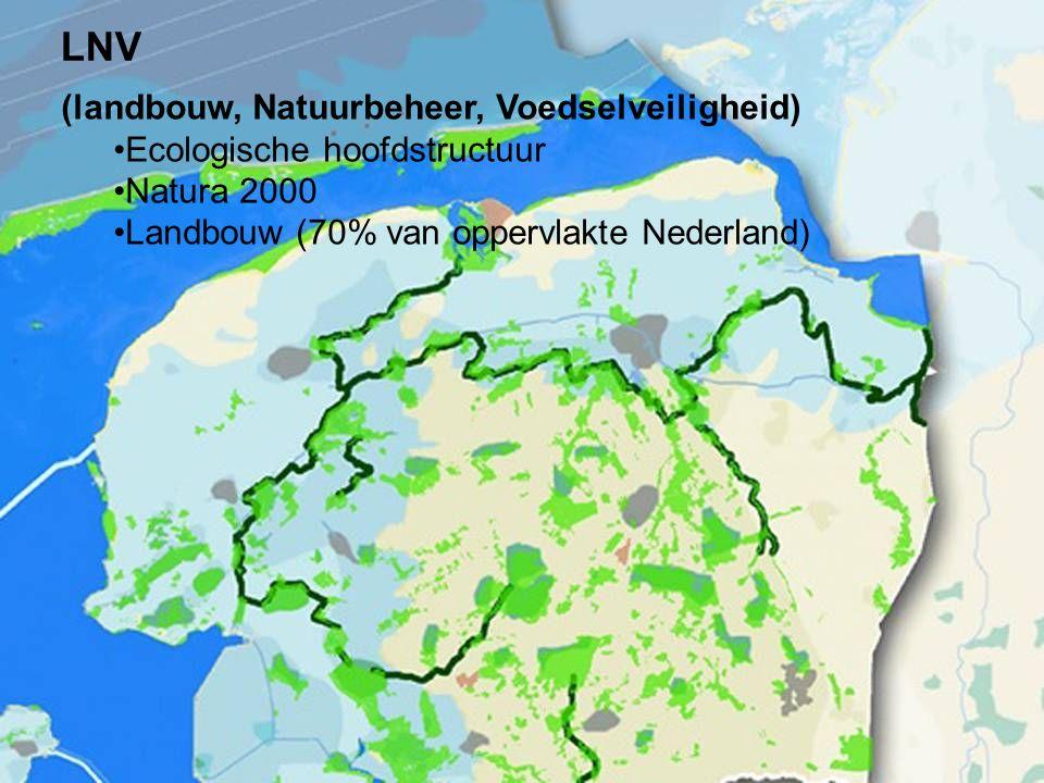 5 (landbouw, Natuurbeheer, Voedselveiligheid) Ecologische hoofdstructuur Natura 2000 Landbouw (70% van oppervlakte Nederland) LNV