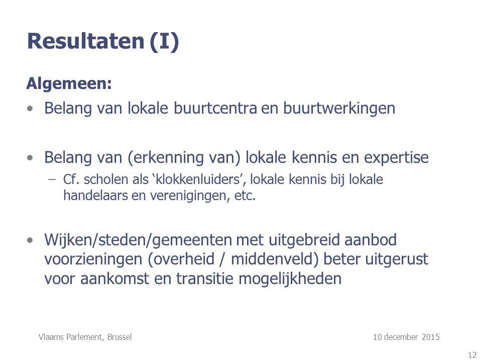 Vlaams Parlement, Brussel 10 december 2015 Resultaten (I) Algemeen: Belang van lokale buurtcentra en buurtwerkingen Belang van (erkenning van) lokale kennis en expertise –Cf.