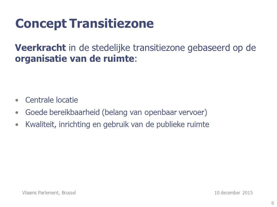 Vlaams Parlement, Brussel 10 december 2015 Concept Transitiezone Veerkracht in de stedelijke transitiezone gebaseerd op de organisatie van de ruimte: Centrale locatie Goede bereikbaarheid (belang van openbaar vervoer) Kwaliteit, inrichting en gebruik van de publieke ruimte 6