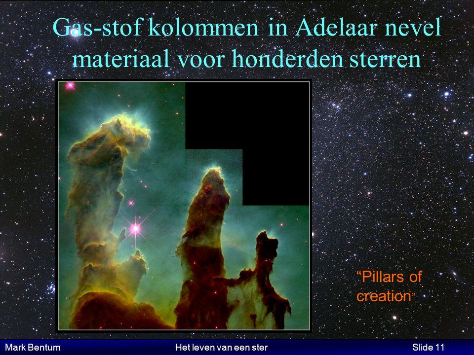 Mark Bentum Het leven van een ster Slide 11 Gas-stof kolommen in Adelaar nevel materiaal voor honderden sterren Pillars of creation