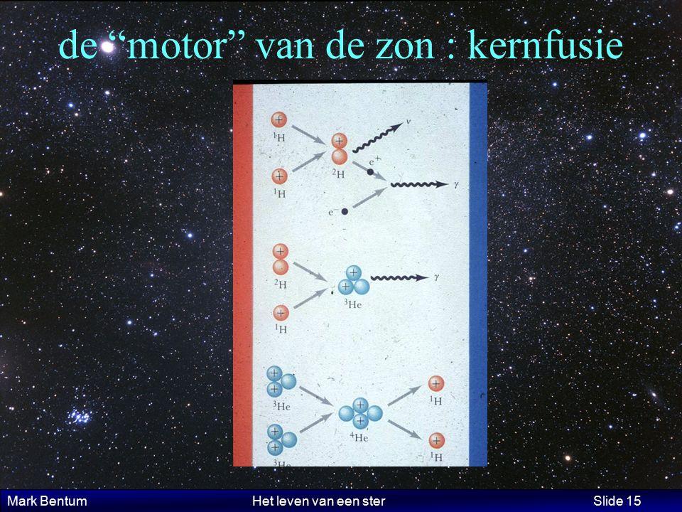 """Mark Bentum Het leven van een ster Slide 15 de """"motor"""" van de zon : kernfusie"""