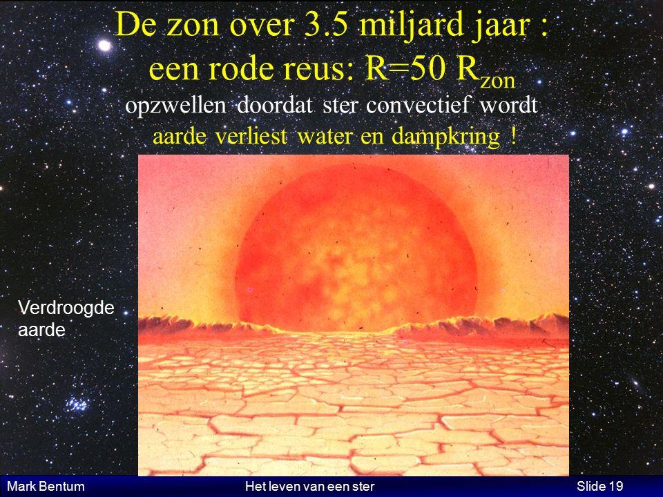 Mark Bentum Het leven van een ster Slide 19 De zon over 3.5 miljard jaar : een rode reus: R=50 R zon opzwellen doordat ster convectief wordt aarde verliest water en dampkring .